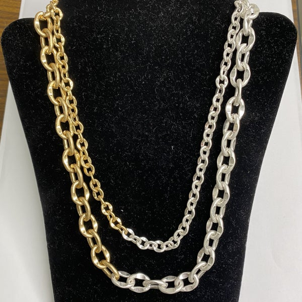 Gold And Silver Double Strand Chain Necklace