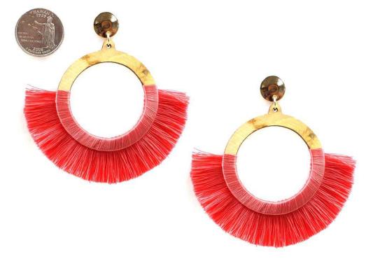 Bright Coral Silk Tassel Drop Post Earring