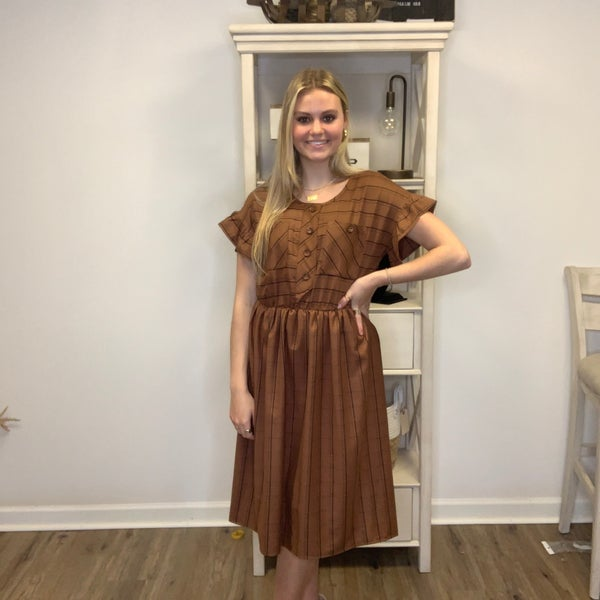 Russet Brown Double-Breasted Shirt Dress w/ Black Striping