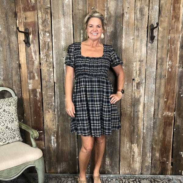 Plaid Baby Doll Style Dress with Elastic Waist and Tie Open Back(GA2)