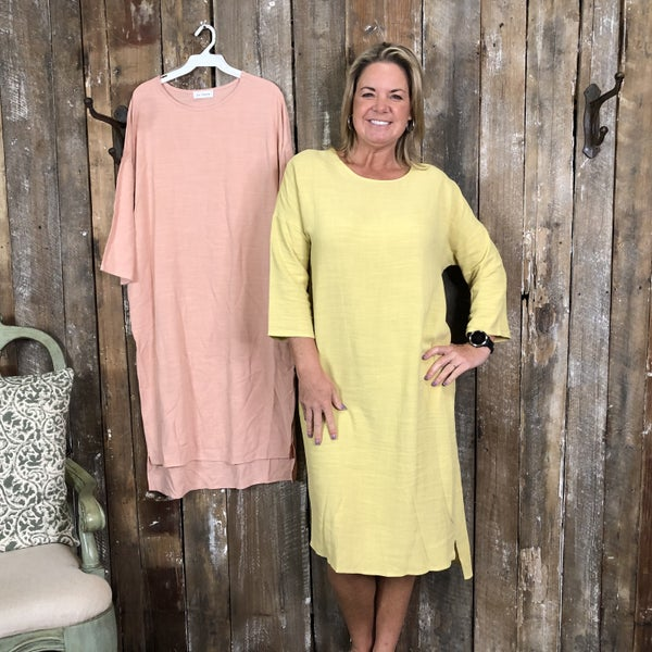 Solid Dress with Side Slit High/Low Hem and Pockets (GA2)