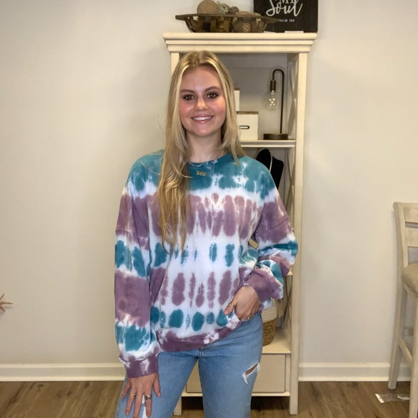 Boutique Item Easel Purple and Teal Ombre Terry Knit Lightweight Sweatshirt MJB