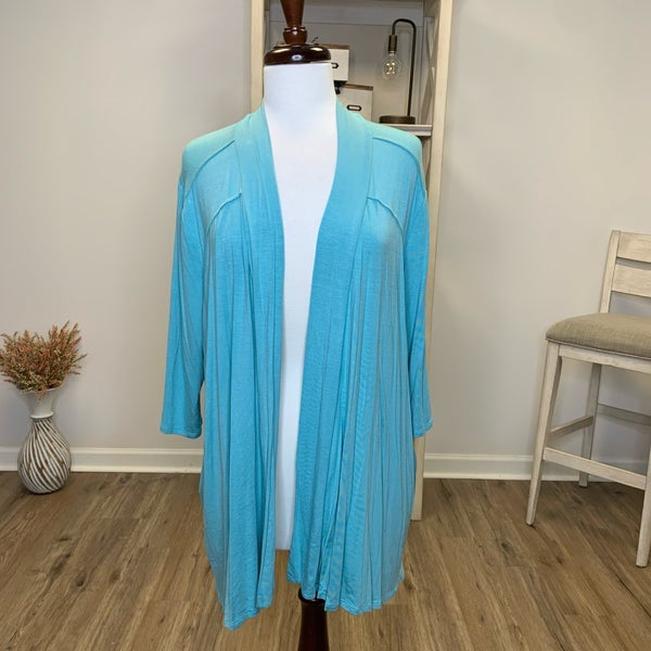 PLUS Light Teal Cardigan with Pockets and 3/4 Sleeve