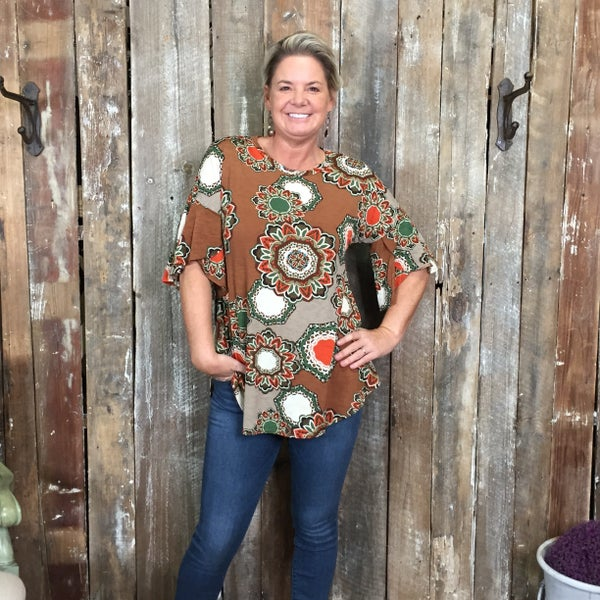 Brown/Olive/Orange Mandala Print Short Sleeve Top (GA2)