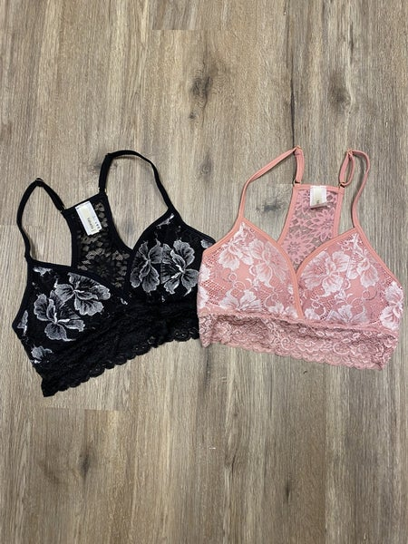 Boutique Item Floral Lace Overlay Racerback Bralette with Removable Pads and Adjustable Straps