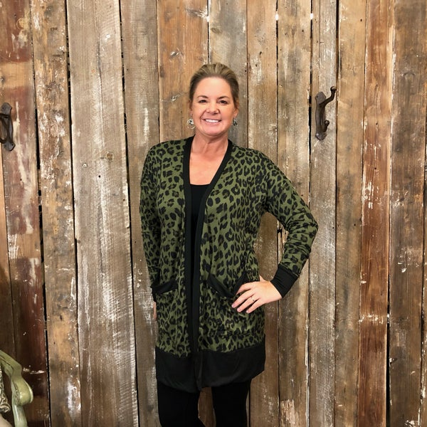 Olive Animal Print Open Front Cardigan with Pockets (GA2)