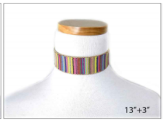 Pastel Multi Colored Fabric Choker
