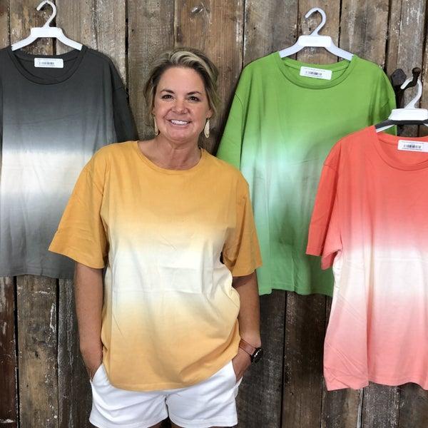 Dip Dye Short Sleeve Round Neck Top (GA2)
