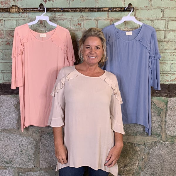 Solid Top/Tunic with Ruffled Shoulder Detail and Shark Bite Hem (GA2)