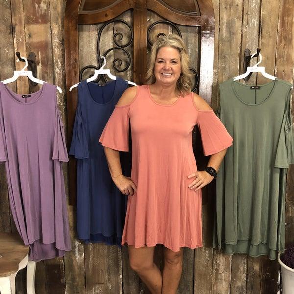 Solid Cold Shoulder Short Sleeve Dress/Tunic