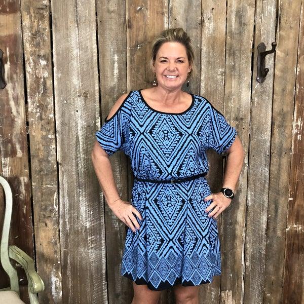 Black/Blue Printed Dress with Brown Waist Belt(GA2)
