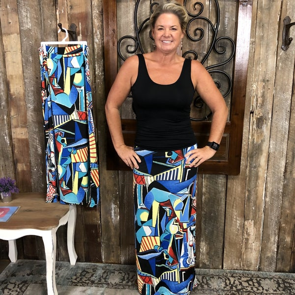Blue/Yellow/Red Abstract Print Maxi Skirt (GA2)