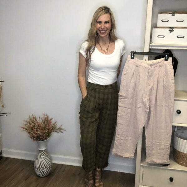 Boutique Item Easel Yarn Dye Plaid Cotton Pants MJB