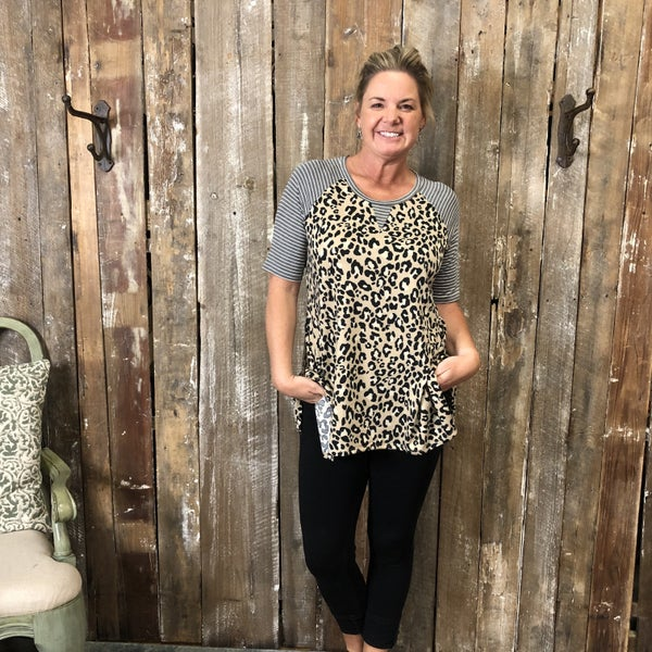 Tan/Black Animal Print Top with Contrasting Grey/White Striped Sleeves (GA2)