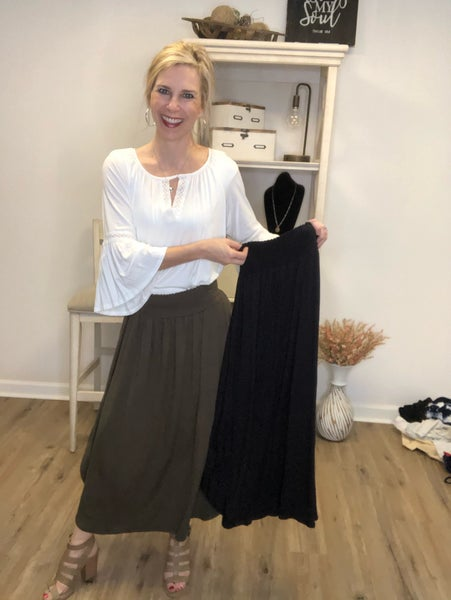 Ruched Waist Solid Long Skirt With Curved Hem MBJ