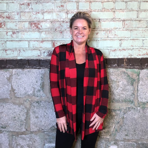 Red/Black Buffalo Plaid Cardigan with Brown Suede Elbow Patches (GA2)