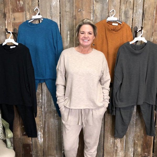Cotton Drop Shoulder Top and Lounge Pant Set (GA2)