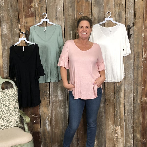 Solid Waffle Knit Top with Ruffled Sleeves (GA2)