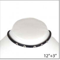 Black Leather Choker with Silver Grommets