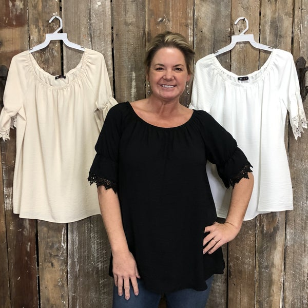 Solid Top with Crochet Lace Trimmed Sleeves (GA2)