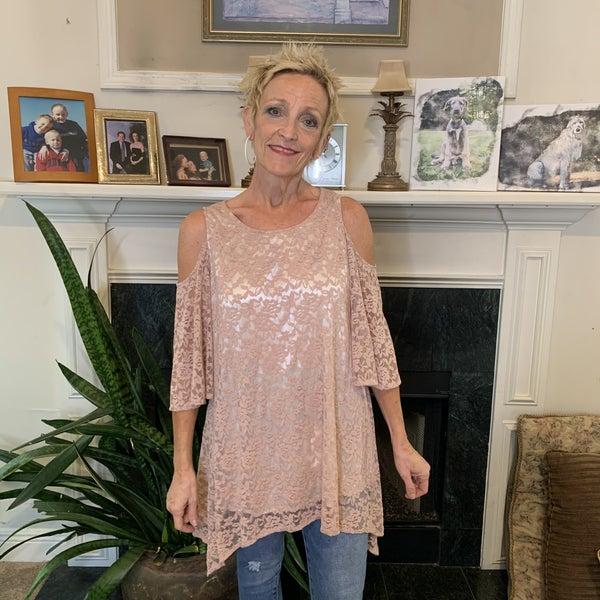 Boutique Item: Mauve Cold Shoulder Lace Tunic MJB (L)