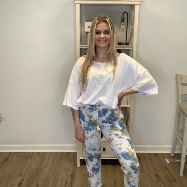 Boutique Item Easel Khaki and Blue Tye Dye Washed Terry Knit Jogger Pant MJB