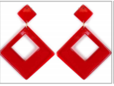 Red Colored Diamond Shaped Post Earrings MJB