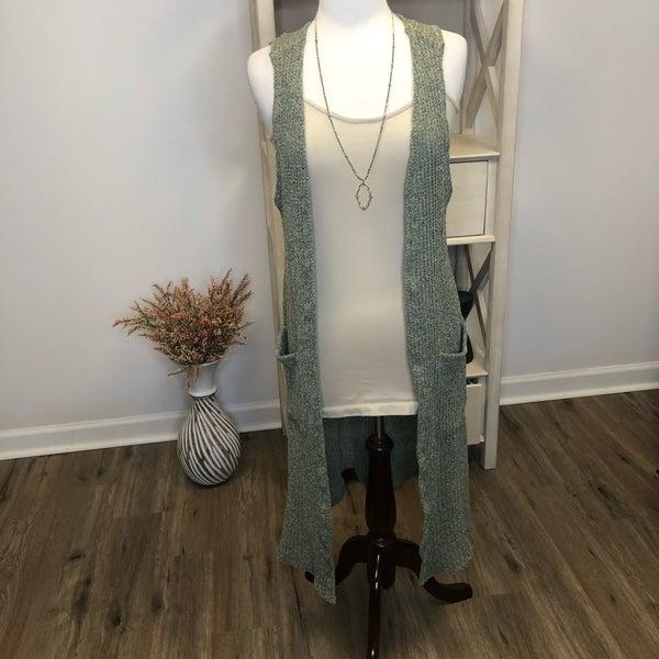 Sage Green Knitted Sleeveless Cardigan