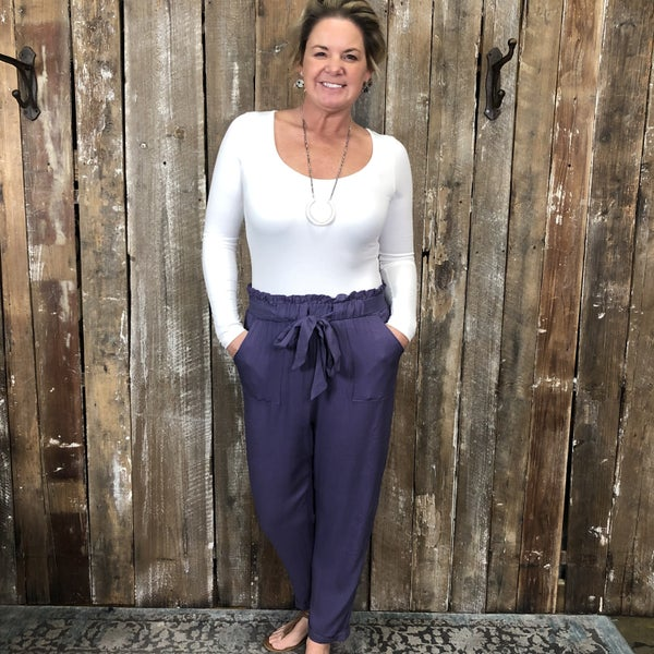 Purple Ankle Length Pants With Tie Detail Elastic Waist and Pockets (GA2)