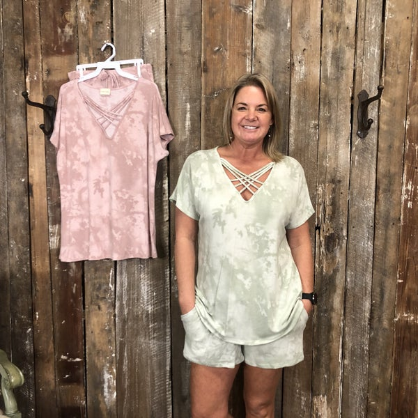 Stone Washed Short Sleeve/Shorts Loungewear Set with Criss Cross Neckline and Pockets (GA2)