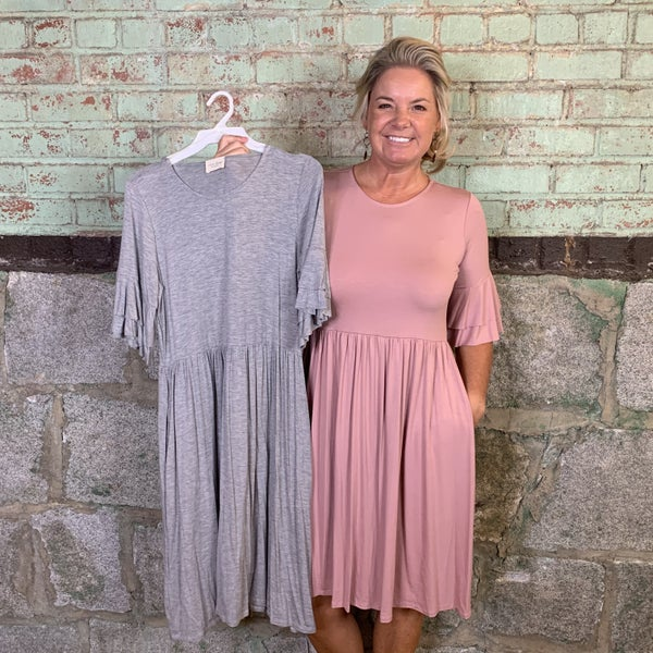 Solid Pleated Waist Dress with Double Ruffle Short Sleeves (GA2)