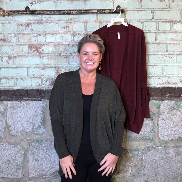 Solid Cocoon Cardigan with Ribbed Sleeves (GA2)