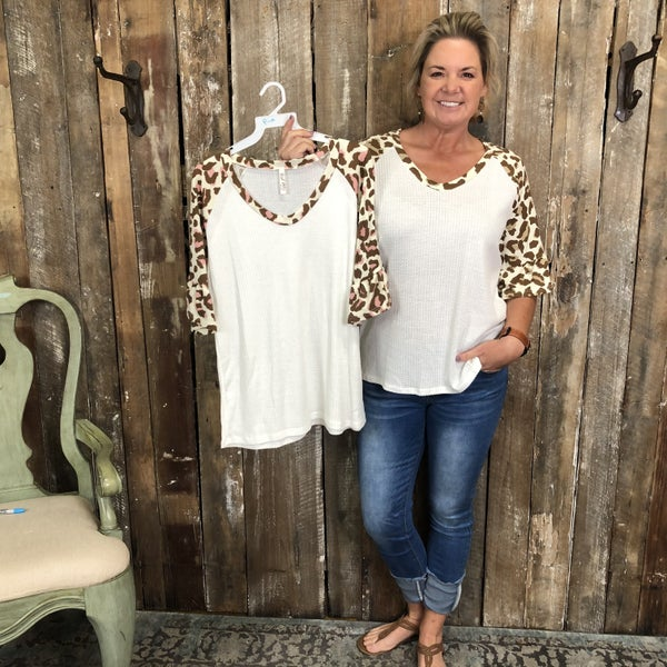 White Waffle Knit Top with Animal Print Sleeves/Trim(GA2)