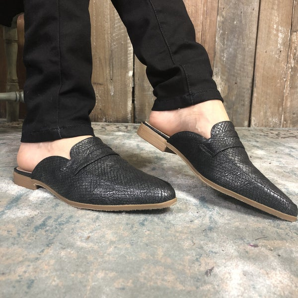 Slip on Black Textured Loafer with Tan Bottom and Small Heel (GA2)
