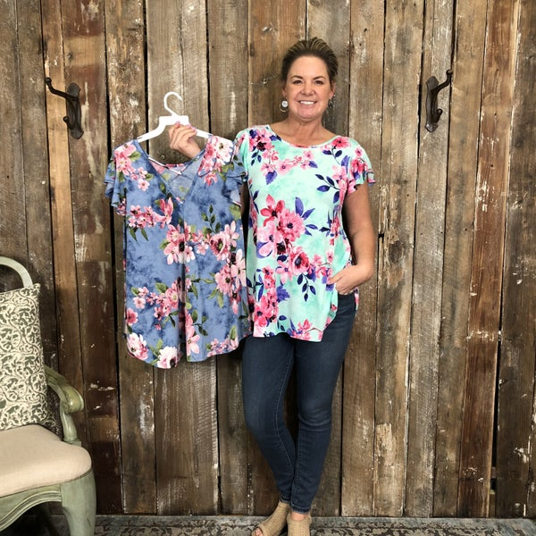 Floral Print Short Sleeve Top with Criss Cross Back (GA2)