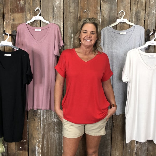 Rolled Short Sleeve V-Neck Top/Tunic (GA2)
