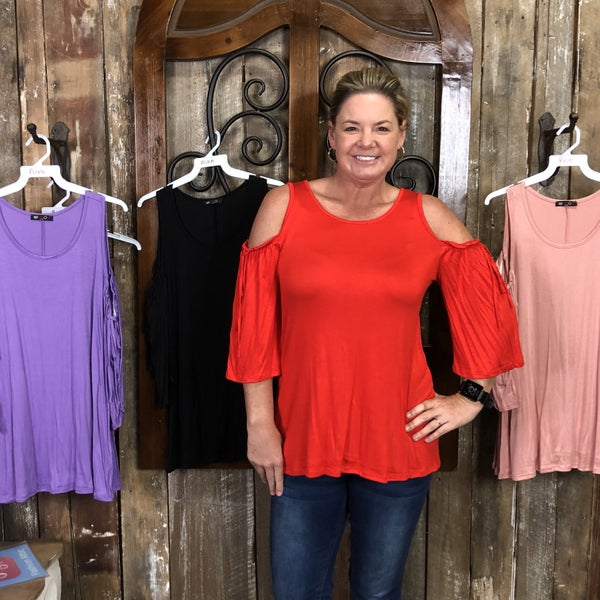 Solid Cold Shoulder, Loose Sleeve Top with Ruffle and Tie Detail (GA2)