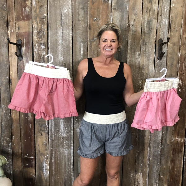Solid Shorts with Crochet Waist Band and Ruffled Trim (GA2)
