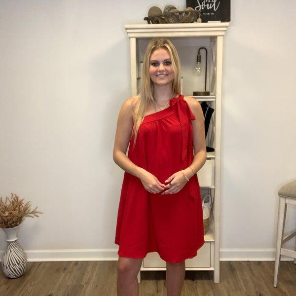 Boutique Item Oddi Red One Shoulder Woven Dress MJB