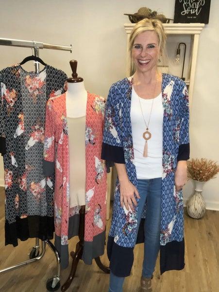 Kimono with Steer/Flowers/Diamonds and High Side Slip