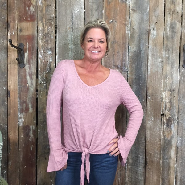 Solid Pink Waffle Knit Top with Ruffle Trimmed Sleeves and Tie Front Hem (GA2)