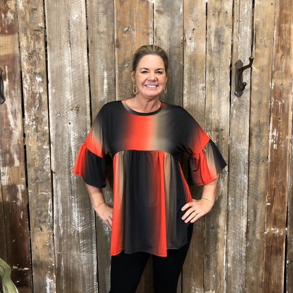 Red/Black Ombre Pleated Front Tunic with Ruffle Trimmed Sleeves (GA2)