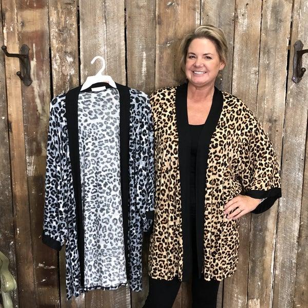 Leopard Print Open Front Kimono (GA2)