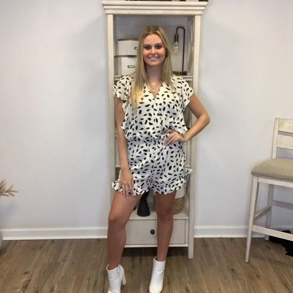 Boutique Item Dalmatian Print Ruffle Short Sleeve V-Neck Shorts Romper MJB