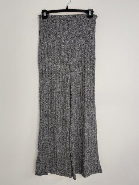 Boutique Item: Dark Heather Gray Heavy Knit Ribbed Wide Leg Pant MJB