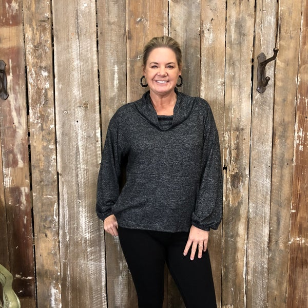 Charcoal Cowl Neck Top with Bubble Sleeves (GA2)
