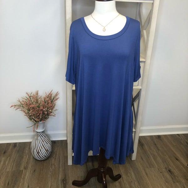 PLUS Royal Blue Knee Length Dress w/ Pockets