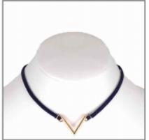 Navy Cord Choker with Gold Geometric Shape