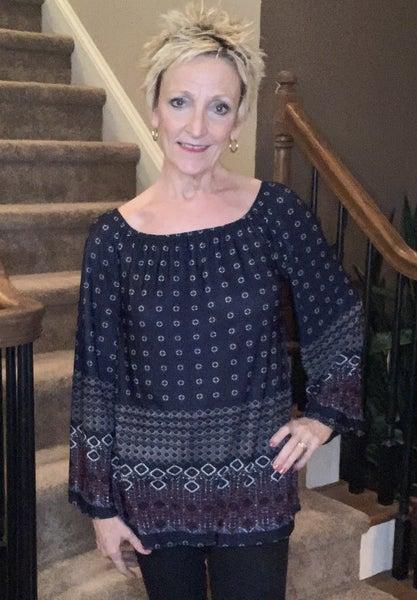 Boutique Item: Aztec Print Off/On Shoulder Knit Top MJB (L)