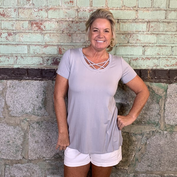 Grey Short Sleeve Top with Criss Cross Neckline (GA2)